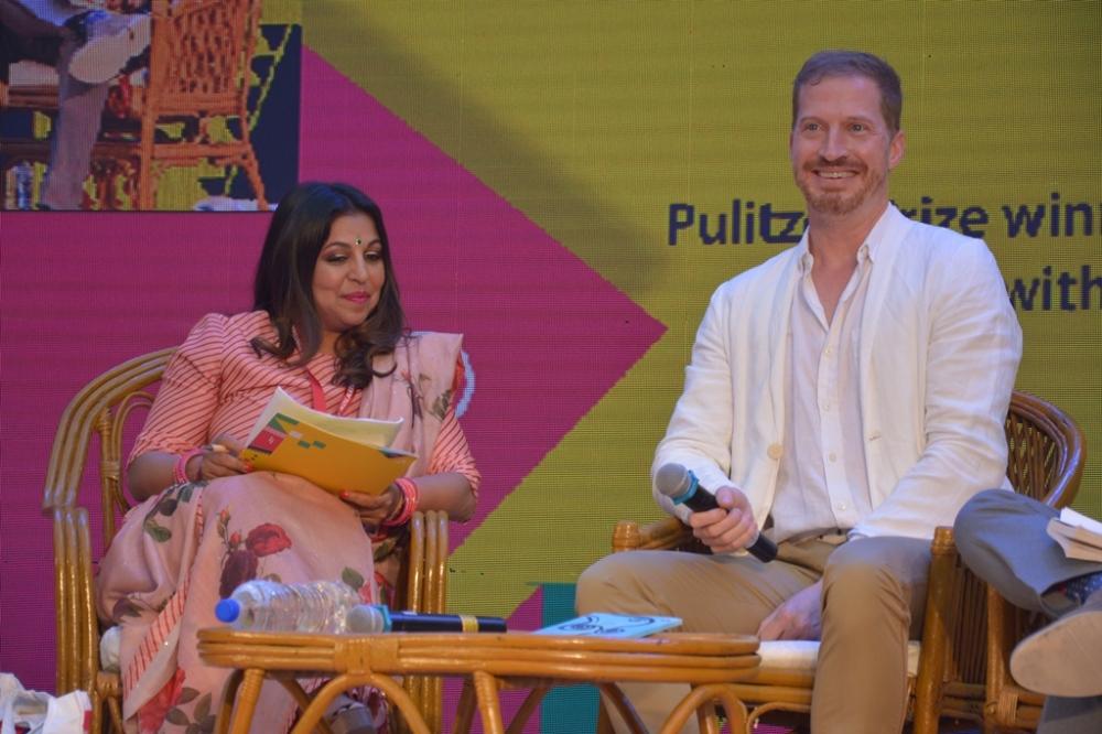 Author Andrew Sean Greer and Priti Paul at AKLF 2019.JPG